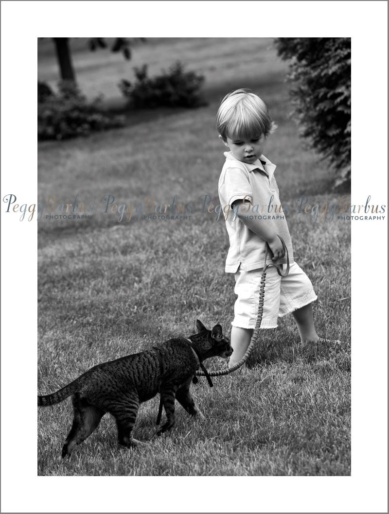 Peggy Garbus Photography Boy walking cat